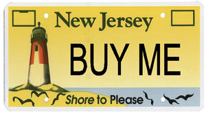 NJ shore license plate